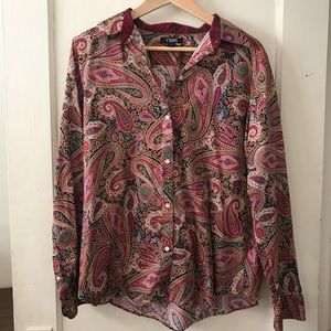 Chaps Magenta Paisley Long Sleeve Button Up